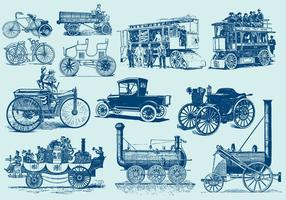 Veículos Motorizados Vintage vetor