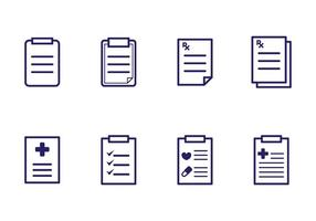 Ícones da almofada de prescrição vetor