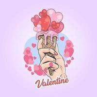 mão segurando o sorvete do amor com o coração do dia dos namorados