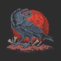 corvo na escuridão da noite vetor