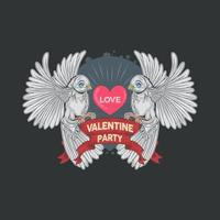 duas pombas brancas segurando um coração de amor vetor