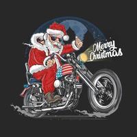 papai noel em uma motocicleta americana vetor