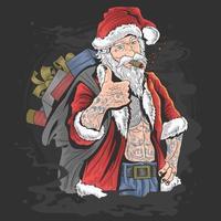 Papai Noel tatuado fazendo sinal de positivo