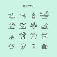 Ícones de lavagem de cachorro vetor