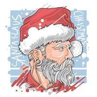 natal papai noel com bela barba vetor