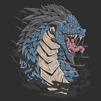 dragão de rosto feroz com pele de espinhos afiados vetor