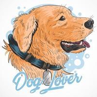cão dourado fofo com texto de amante de cães vetor