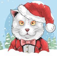 gato de natal do papai noel