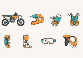 Ícone e elementos da bicicleta de sujeira vetor