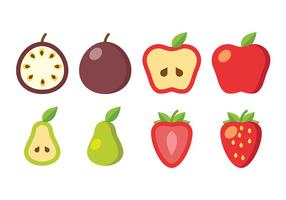 Ícones de vetor de frutas em fatias