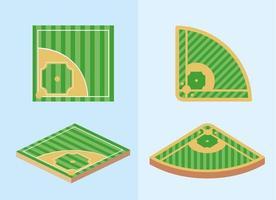 conjunto de campos de beisebol vetor
