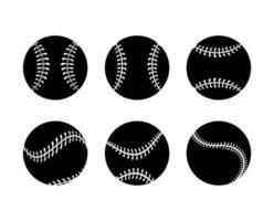 conjunto de ícones de silhueta de bola de beisebol vetor