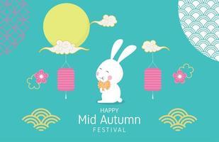 pôster do festival de meados do outono com coelho feliz e decoração