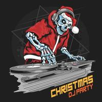 esqueleto DJ fantasiado de papai noel na festa de natal vetor