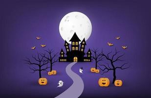 banner de papel de arte de halloween com castelo, árvores e abóboras vetor