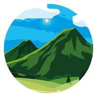 paisagem montanhosa em moldura circular vetor