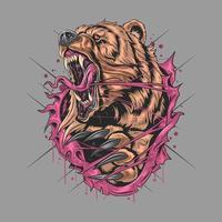 desenho de urso pardo com raiva feroz e selvagem vetor