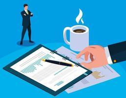 empresário no dia do imposto com planejador e ícones vetor