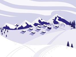 cena de neve em acampamento de esqui vetor