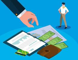 empresário no dia do imposto com planejador e ícones