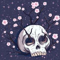 árvore de flor crescendo em um crânio humano