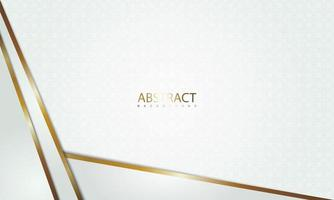 padrão branco com ângulos sobrepostos com bordas douradas vetor