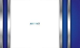 design metálico realista em azul, prata e branco vetor