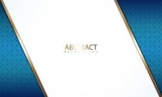 ângulo branco com bordas douradas sobre padrão azul vetor