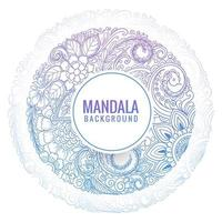 Mandala decorativa azul roxa circular com fundo floral vetor