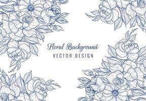 desenhado à mão cartão floral botânico azul em branco vetor