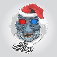desenho de feliz natal com dinossauro usando chapéu de Papai Noel vetor