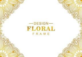 lindo quadro floral gradiente dourado vetor
