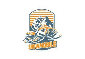 Vector de Handgraving de Snowmobile