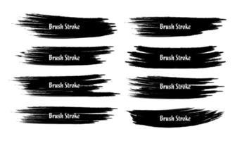 Conjunto de oito pinceladas pretas de grunge abstrato vetor