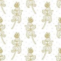 padrão floral ouro sem costura vetor