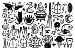 lindo conjunto de ícones de halloween vetor