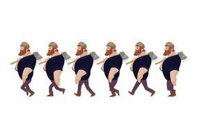 Vetor de desenhos animados do ciclo da caminhada