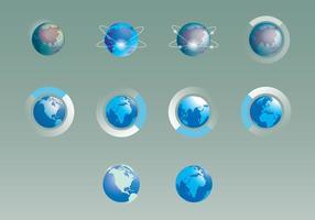 Conjunto de ícones de imagens do mapa mundial vetor