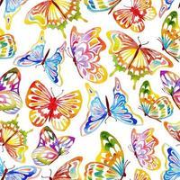 borboletas aquarela sem costura padrão vetor