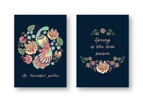 conjunto de cartão de saudação de pássaro popular vetor