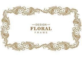 design decorativo artístico de moldura floral dourada vetor
