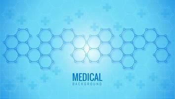 fundo médico abstrato de forma hexagonal azul vetor