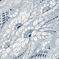 fundo padrão floral azul decorativo moderno vetor