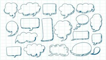 conjunto de balão de fala de esboço desenhado à mão vetor