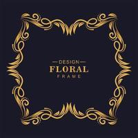 bela moldura floral dourada decorativa vetor