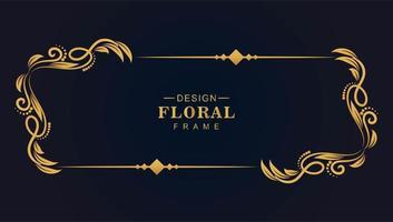 moldura artística floral ouro vetor
