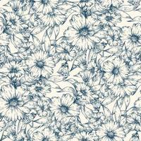 flores azuis sem costura de fundo vetor