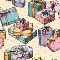 caixas de presente sem costura de fundo vetor