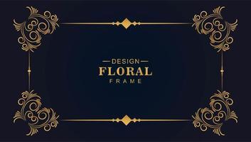 linha de ouro ornamental moldura floral decorativa vetor