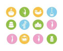 nutrição saudável e conjunto de ícones de estilo de vida de fitness vetor